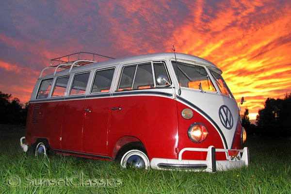 1966 VW Deluxe Bus sunset