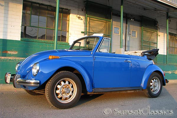 This is a beautiful blue 1972 Classic VW Beetle Convertible for sale.
