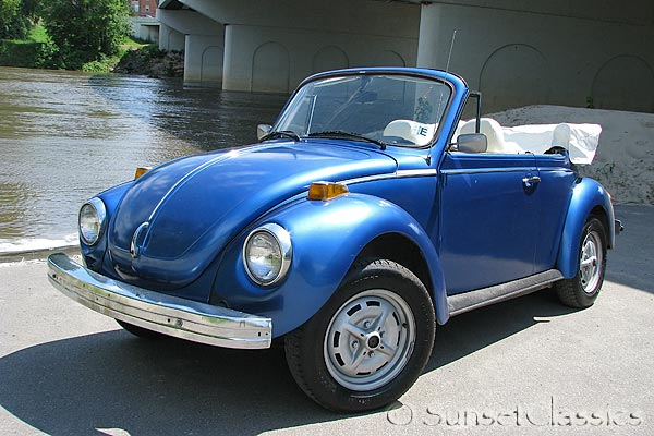 1978 vw bug convertible for sale nice blue white combo. Black Bedroom Furniture Sets. Home Design Ideas